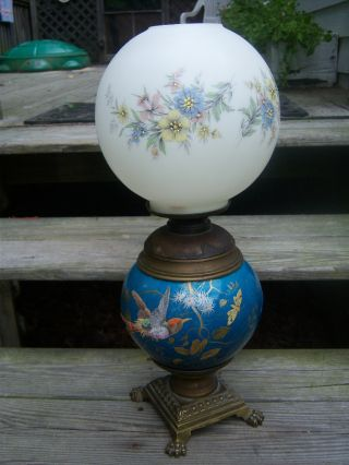 Vintage Antique Two Burner Oil Lamp R.  Hollings Boston Enamel Bird Bronze Guild photo