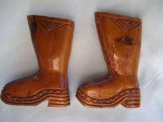 Pair Handcarved Wood Boots By Artist Art Gallant New Brunswick Dieppe Canada photo