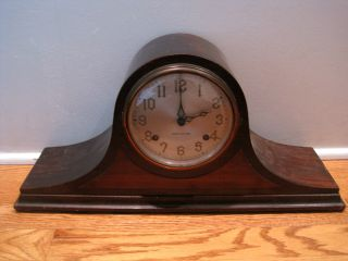 Old Vintage Antique Duo Strike Cathedral Gong Movement Mantel Wood Shelf Clock photo