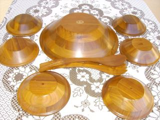 Vintage Vermillion American Walnut Heirloom Salad Bowl Set 9pcs photo