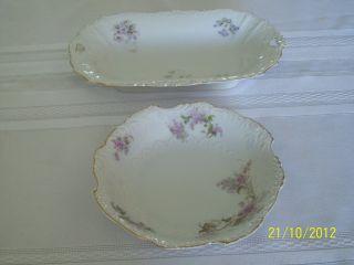Antique Hermann Ohme Eglantine Design,  Dish And Bowl,  1895 - 1910 photo