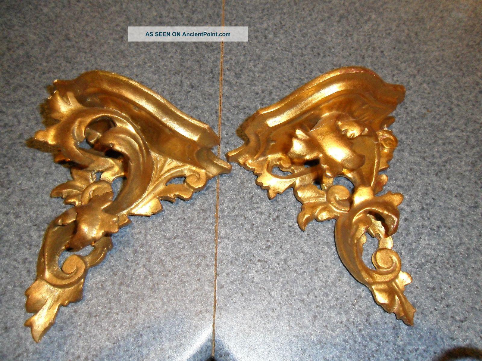 Pair Antique Sconces Ornate Italian Florentine Gold Leaf Gilt Wood