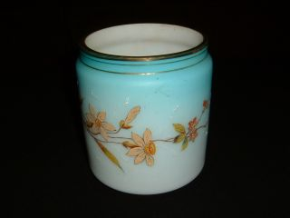Stunning Victorian Hand Painted Satin Glass Jardiniere photo