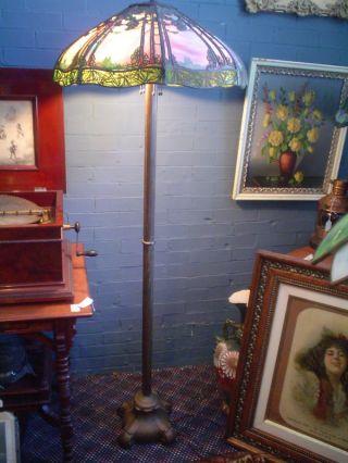 Antq.  Handel Floor Lamp & Metal Overlay Shade Sgnd.  Base photo