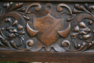 Stunning 19th C Gothic Oak Heraldic Panel With Green Man Relief Carvings & Other photo
