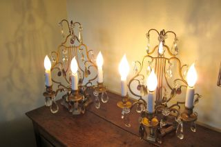Antique French Lamps,  Pair,  Harp - Back,  To Use On Table Or As Sconces photo