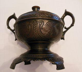Antique B & H Oil Kerosene Lamp Bronze Or Brass Base Great Design photo