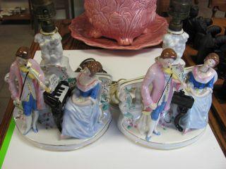Antique German Victorian Porcelain Lamps photo
