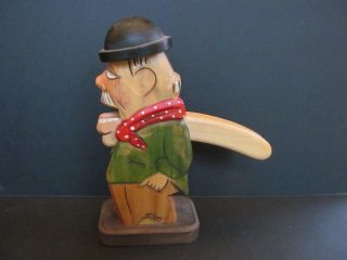 Old 9  Tall German Black Forest Folk Art Hand Carved Wood Nutcracker photo