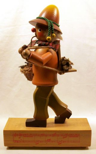 Vintage Incense Burner Figurine W/ Music Box,  Woodsman photo