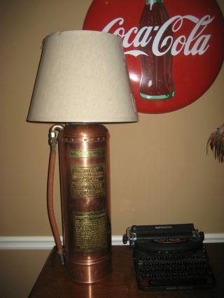 Vintage / Antique Brass / Copper Childs Fire Extinguisher Lamp - 40 ' S - 50 ' S Era photo