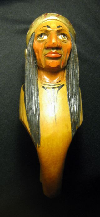 Vintage Anri Carved Wood Indian Head Nutcracker photo