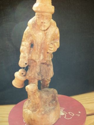 Wood Carved Older Man With Lantern And Sheep,  L@@k photo