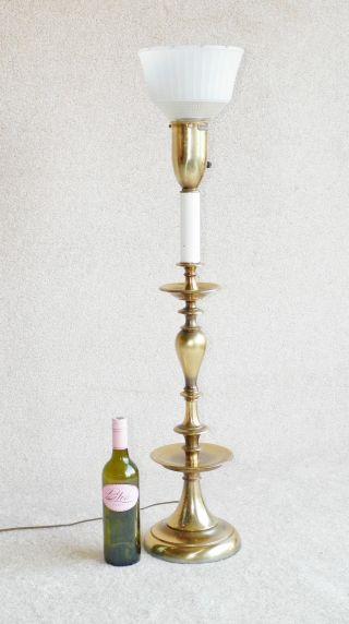 Huge Rembrandt Brass Lamp,  Mid Century,  Eames Era,  Glass Reflector photo