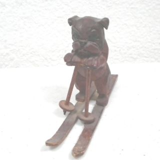 Vintage Antique Wood Carved Skiing Bulldog Figurine On Skis,  Wooden Skier photo