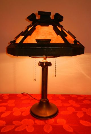 Table Lamp With 6 Panel Caramel Slag Glass Shade And Classic Column Base photo