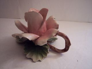Vintage 1940s Capodimonte Majolica Pink Rose Candlestick Candle Holder Italy photo
