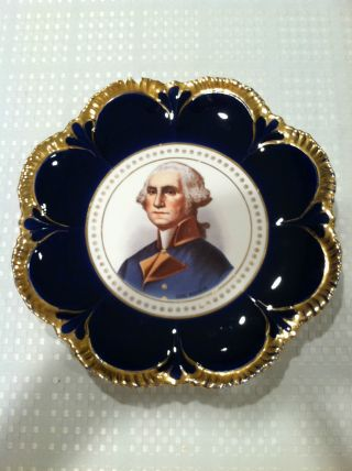 Vintage Empire China George Washington Portrait Cobalt Blue Gold Trimmed Plate photo