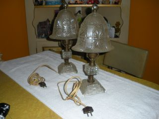 Pair Of Vintage Antique Bedside Glass/crystal Lamps - photo