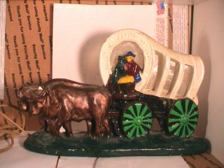 Vintage Carnival Chalkware Tv Lamp Covered Wagon Western photo