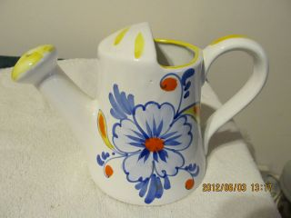 Vintage Watering Can,  Ceramic - Handpainted - Blue Flowers - Italy photo