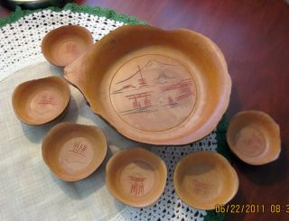 Lg.  Wood Bowl,  & 6 Little Serving Bowls Nuts & Candy photo