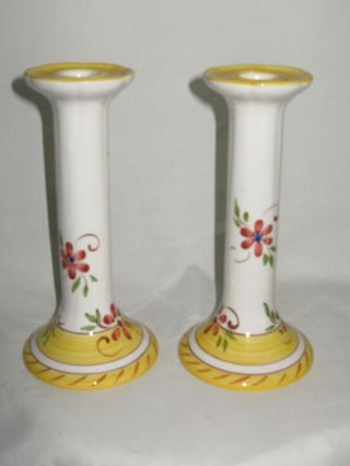 Tierra Fina Portugal Candlesticks Handpainted Multicolo photo
