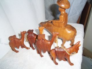 Vintage Camels W Doneys Carved Wood Wooden Oriental Oxen Water Buffalo Man Bonus photo