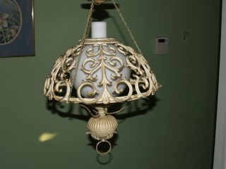 Vintage Antique Wrought Iron Light Fixture Hanging Lamp Rustic Sphere Cage photo