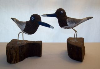 Set Of 2 Vintage/antique Wood Carved/hand Painted Shore Birds On Wood Stand photo