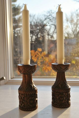 Pair Of Vintage 1930 ' S Norwegian Acanthus Carved Wood Candleholders photo