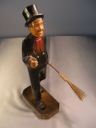 Black Forest Hand Carved Dicken ' S Chimney Sweep Figurine 11 1/2
