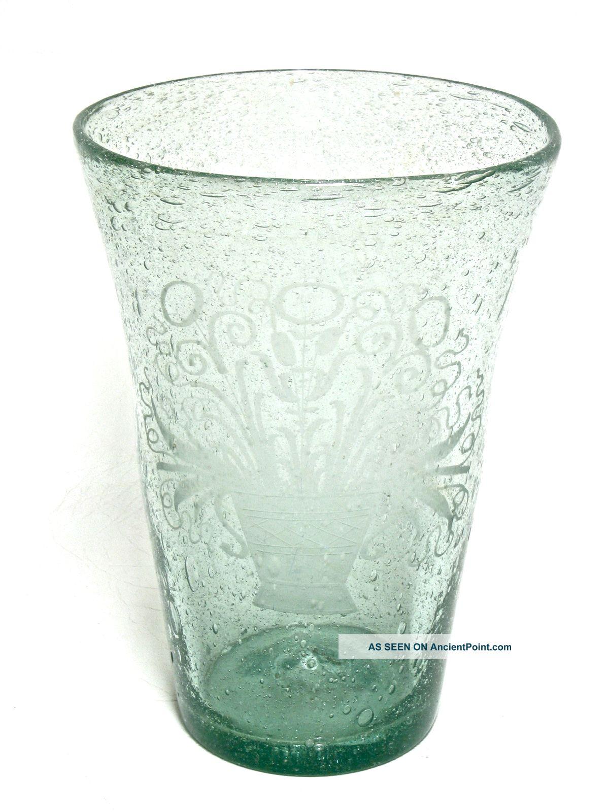 Antique american aqua flip glass bubble vase etched flower bouquet antique american aqua flip glass bubble vase etched flower bouquet rough pontil reviewsmspy