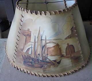 Rare Antique Leather Arts & Crafts Mission Hand Painted Lamp Shade photo