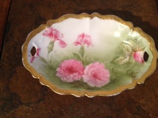 Antique Bavaria Porcelain China Handled Plate photo