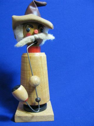 Hand Carved Wooden Artisian German/bavarian Smoking Gnome Man Incense Burner photo