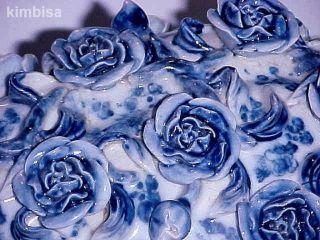 Gorgoues Vintage Blue And White Porcelain Roses Vase Base Lamp Table Rare photo