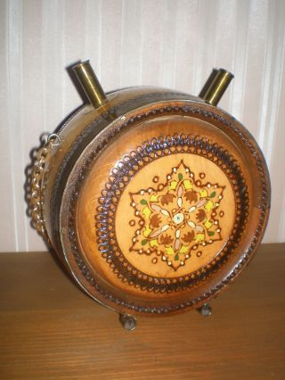 Souvenir Wooden Vessel For Wine Or Brandy Decorated With Ornaments - Ethnographic photo
