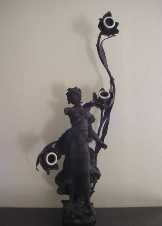Antique Signed Aug.  Moreau Figurine Lamp French Art - Not Working photo