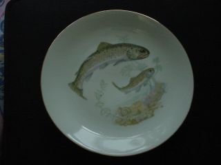 Vintage Czeck Bohemeian Fish Plate Trout Czechoslovakia photo