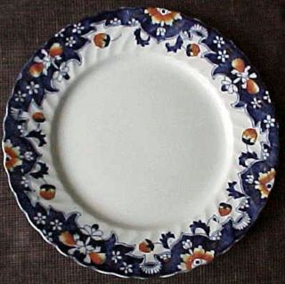 19th C Blue Transfer Bristol English Imari Brick Red Hp Dinner Plate Vg photo