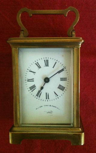 Antique Brass French Carriage Clock With Key photo