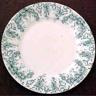 19c Green Transfer Floral Scroll Leaf English Aesthetic Venus Luncheon Plate photo