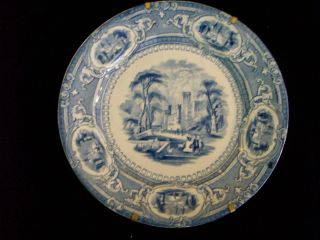 E Challinor Trasfer Plate - Light Blue - - Circa 1800 ' S photo