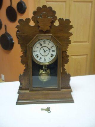 Antique Clock Gilbert Quail Ornate Walnut Working Kitchen Shelf Clock Key photo
