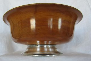 John Hasselbring New York Vintage Wood And Sterling Silver Bowl photo