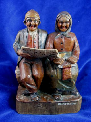 Antique Swiss Hand Carved Wood Brienz? Peasant Man & Woman,  Chatillon,  Switzerland photo