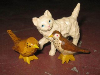Vintage American Folk Art Miniature Wood Carving Set Of One Cat And Two Birds photo