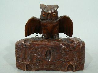 Antique Wood Carved Owl Black Forest Glass Eyes photo