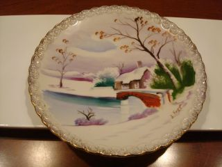 Hand Painted Porcelain Plate - Winter Scene - Signed S.  Kuzuya photo